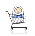 Baby in basket vector image