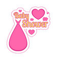 baby shower label with a stork carry bag vector image vector image