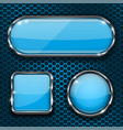 blue glass buttons on metal perforated background vector image vector image