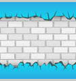 brick blue wall plaster cracks vector image