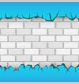 brick blue wall plaster cracks vector image