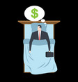 businessman sleeping in bed sleep money manager vector image
