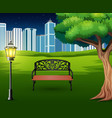 cartoon of chairs in green park with town building vector image vector image