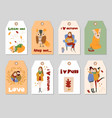 collection of autumn tags template with vector image