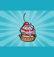 cupcake dessert with cherries and cream vector image vector image