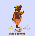 cute autumn bear covered in fallen autumn leaves vector image vector image