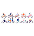 cyclists characters fun active woman cyclist vector image vector image