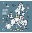 Doodle Europe map on navy chalkboard with pins and vector image vector image