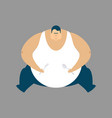 fat guy sitting isolated glutton thick man fatso vector image