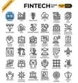fintech financial technology concept icons vector image vector image