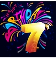 Fireworks Happy Birthday with a gold number 7 vector image vector image