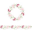 Floral round garland and endless pattern brush vector image vector image