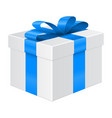 gift box with blue ribbon package mockup vector image vector image
