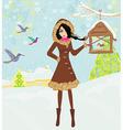 girl feeds the birds in winter vector image vector image