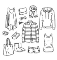 Hand drawn clothing and accessories vector image