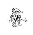 hand drawn of sumo man wrestlers vector image
