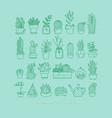 icon plants in pots turquoise vector image vector image