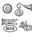 icons set with hops vector image