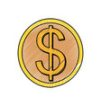 isolated coin symbol vector image vector image