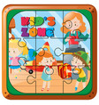 jigsaw puzzle pieces of kids playing vector image vector image