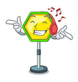 listening music road traffic sign on the cartoon vector image