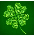 ornate clover on dark green background vector image