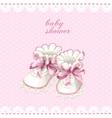 Pink booties baby shower card vector image vector image