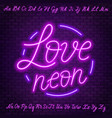 pink neon script uppercase and lowercase letters vector image