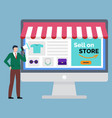 sell on store e-commerce concept computer vector image