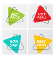 set of abstract geometric bright triangle sale tag vector image