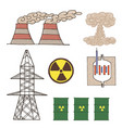 set of icons nuclear energy vector image