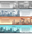 set of industrial factory banners landscape vector image