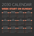 simple 2030 year calendar vector image vector image