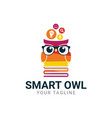 smart owl mascot logo design vector image