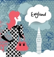 Stylish back with woman silhouette in England vector image vector image