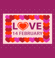 valentine day postcard 14 february sticker vector image vector image