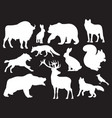 wild animals silhouettes set vector image