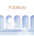 3d realistic circle podium with wall fog