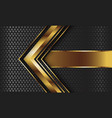 abstract gold arrow with banner grey circle mesh vector image vector image
