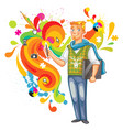 artist-designer with laptop and stylus vector image vector image