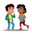 asian and african boys holding belly laughing vector image