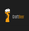 beer glass logo hand hold craft vector image vector image