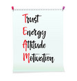 card with team trust energy attitude motivation vector image vector image