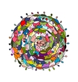 Colorful spiral mandala sketch for your design vector image vector image