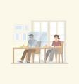 couple in new normal restaurant vector image