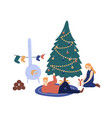 couple spending time together at xmas eve vector image