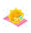 cute cartoon sun character applying cream for tan vector image vector image