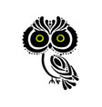 cute owl logo black silhouette for your design vector image vector image