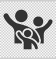 Family greeting with hand up icon in flat style