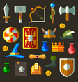 Game weapon icons flat set vector image